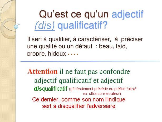 Les adjectifs disqualificatifs