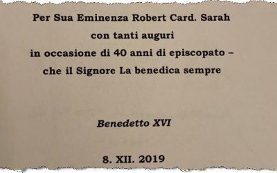 Le cadeau de Benoît XVI au cardinal Sarah