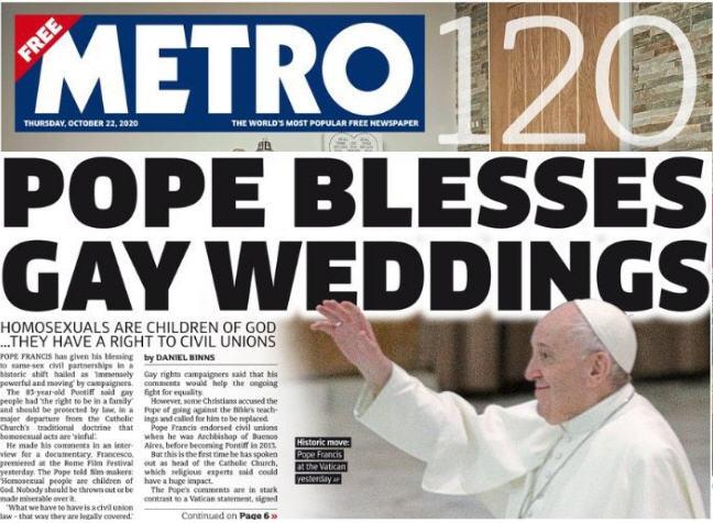 Unions homo, la faute du Pape