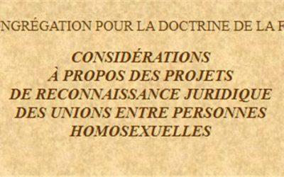 La note (oubliée) Ratzinger de 2003 sur  les unions homosexuelles